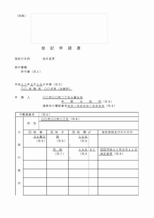 土地地目変更登記のサンプル図面